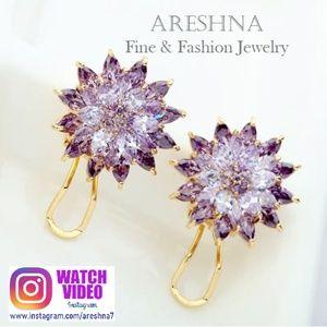 Swarovski Crystals Violet Stud Floral Earrings